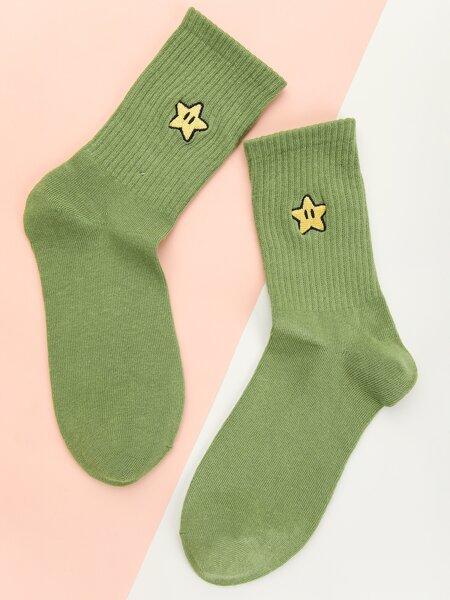 Star Embroidered Crew Socks