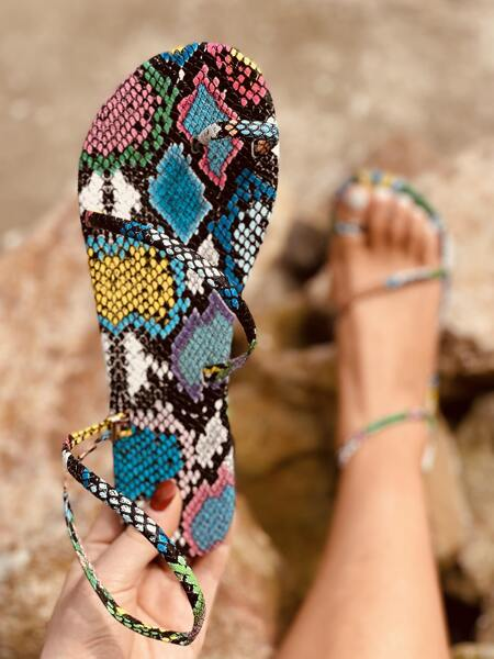 Snakeskin Print Thong Sandals