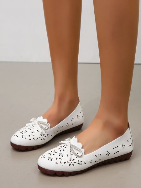 Bow Decor Hollow Out Flats