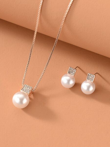 Faux Pearl Decor Necklace & Earrings