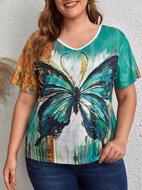 Plus Butterfly Print Short Sleeve Tee