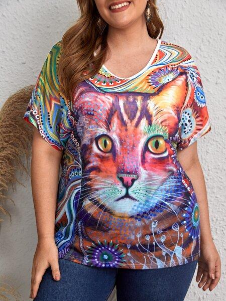 Plus Cat Print Batwing Sleeve Tee