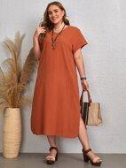 Plus Solid Side Split Tunic Dress