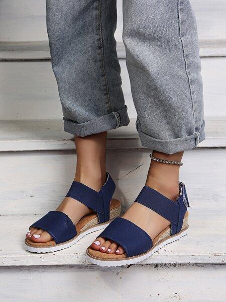 Velcro Strap Canvas Wedge Sandals