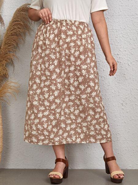 Plus Floral Print Elastic Waist Skirt