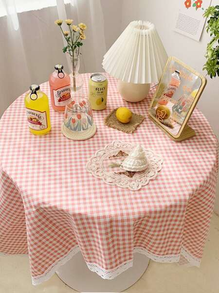 Gingham Pattern Lace Trim Tablecloth