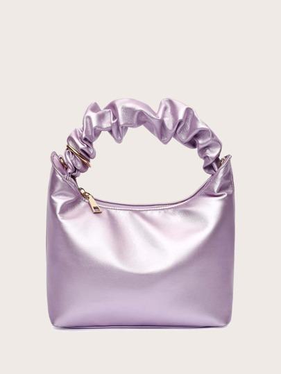 Solid Ruched Handle Satchel Bag
