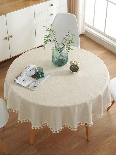 Solid Color Tassel Tablecloth