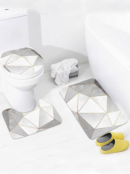 1pc Geometric Pattern Non-slip Closestool Rug