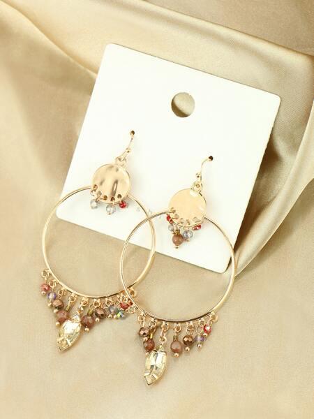 Crystal Decor Round Drop Earrings