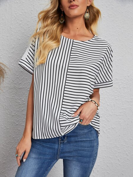 Batwing Sleeve Striped Print Blouse