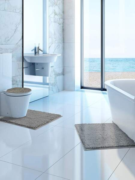 1pc Solid Color Non-slip Bath Mat