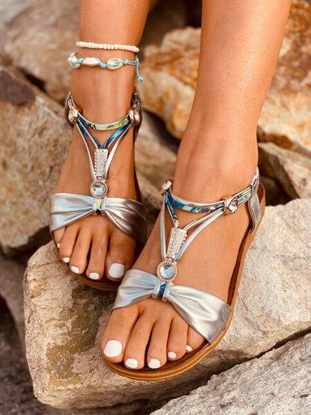 Rhinestone Decor Slingback Sandals