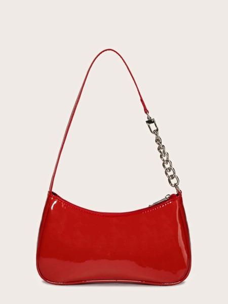 Patent Baguette Bag