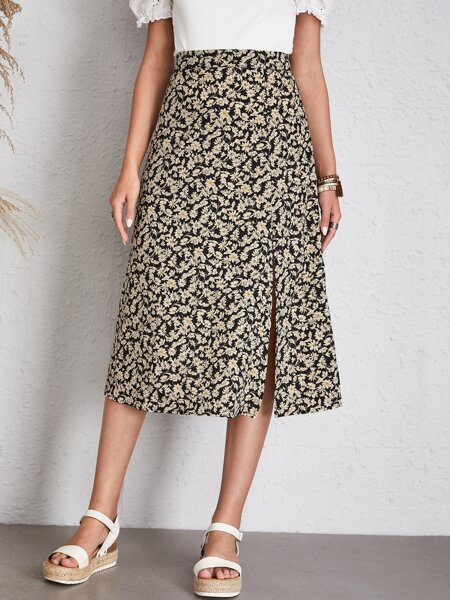Allover Floral Print Slit Skirt