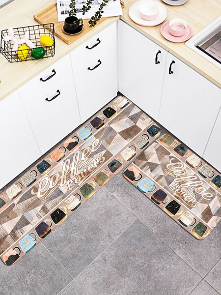 1pc Coffee Cup Print Kitchen Rug