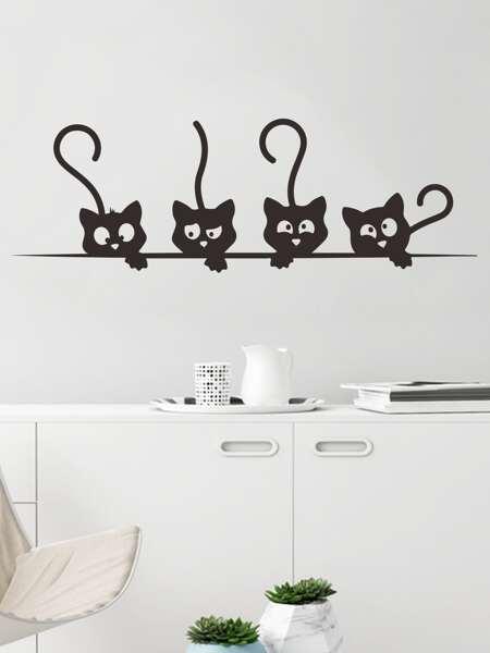 Kids Cartoon Cat Print Wall Sticker