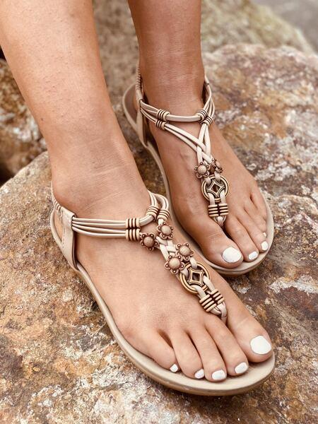 Flower Detail Flat Thong Sandals