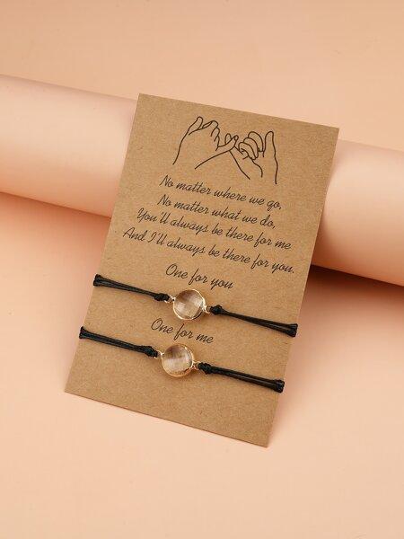 2pcs Crystal Decor String Bracelet