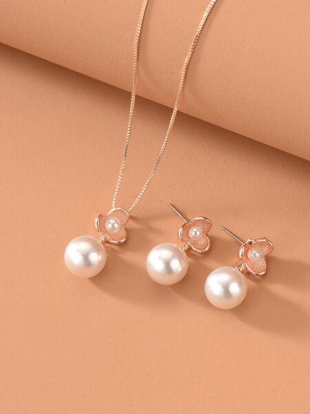 Rhinestone Charm Necklace & Earrings