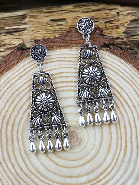 Jhumka Flower Decor Bead Tassel Drop Earrings