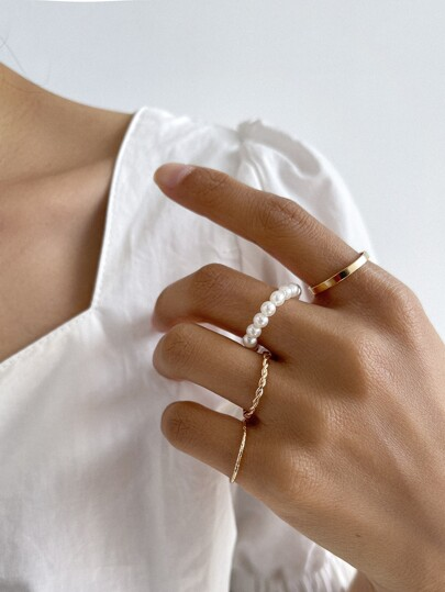 4pcs Faux Pearl & Twist Design Ring