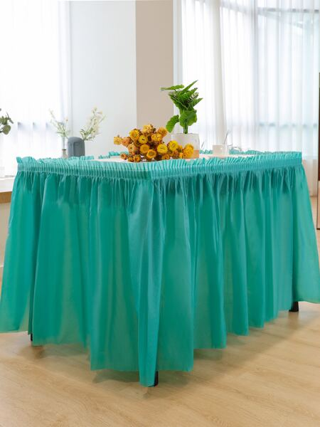 1pc Solid Color Table Skirt
