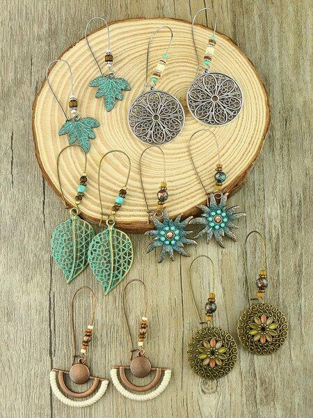 6pairs Bohemian Flower Drop Earrings