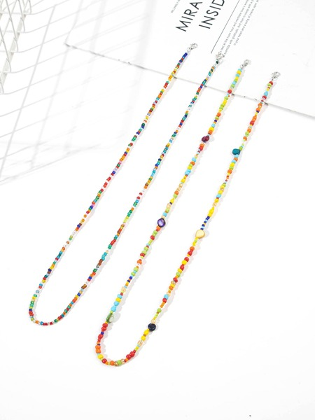 2pcs Colorful Beaded Face Mask Chain