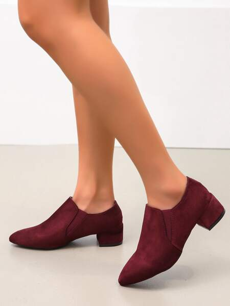 Point Toe Suede Low Heeled Pumps