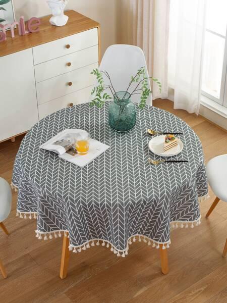 Chevron Pattern Tassel Tablecloth