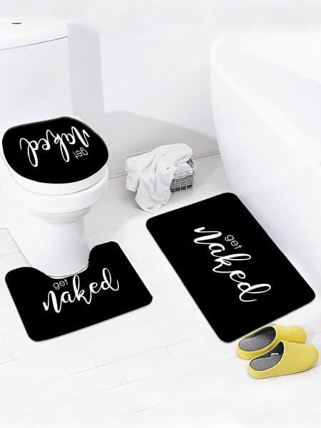 1pc Slogan Graphic Closestool Rug