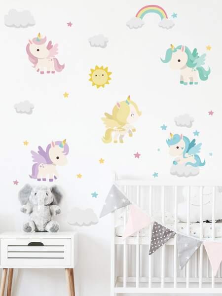 Cartoon Unicorn Print Kids Wall Sticker