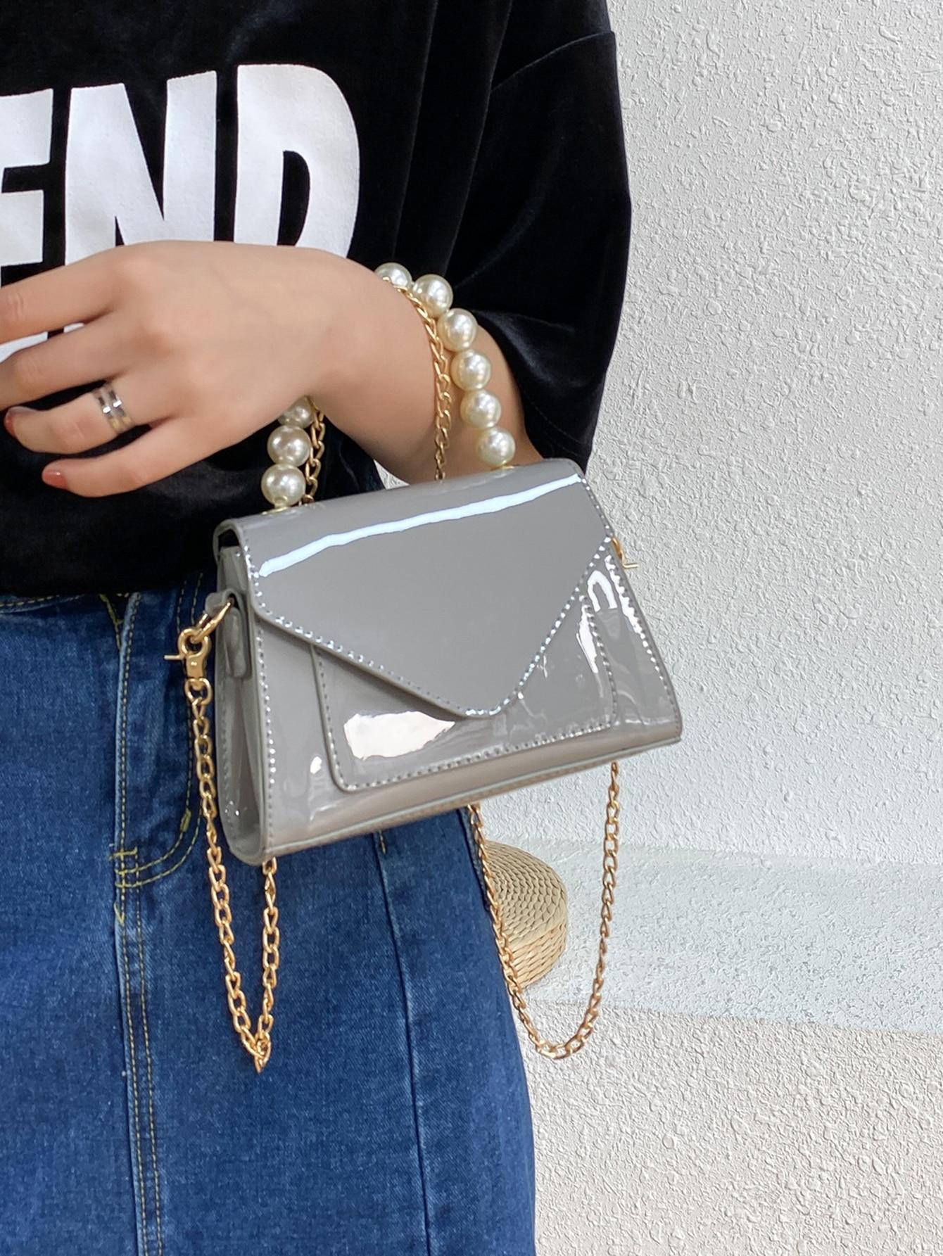 Faux Pearl Handle Patent Leather Satchel Bag