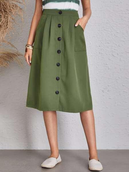 Solid Button Front Slant Pocket Midi Skirt