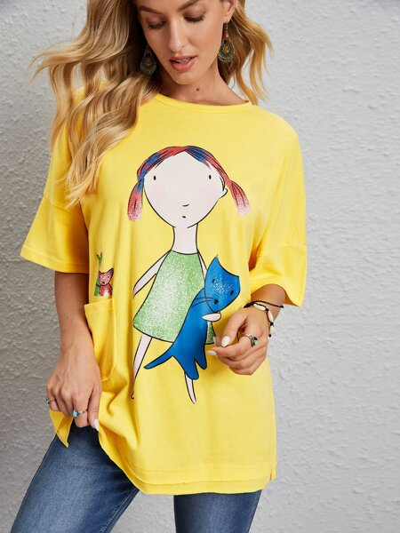 Cartoon Graphic Pocket Patched Oversized Tee