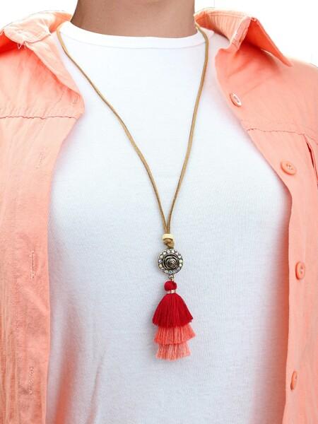 Flower & Tassel Charm Necklace