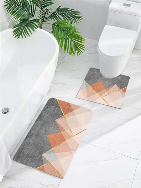 1pc Geometric Pattern Non-slip Bath Mat