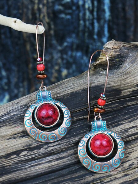 Bohemian Hollow Out Round Drop Earrings