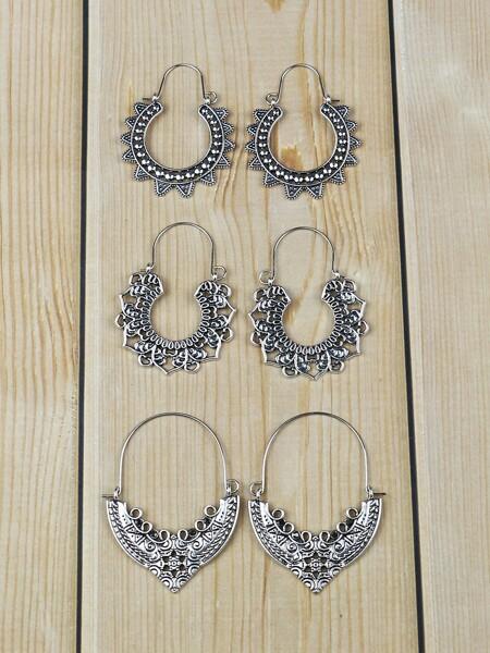 3pairs Bohemian Hollow Out Hoop Earrings