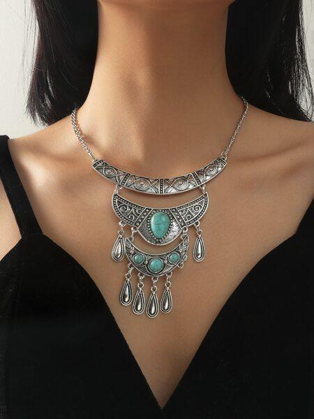 Bohemian Turquoise Decor Tassel Charm Necklace