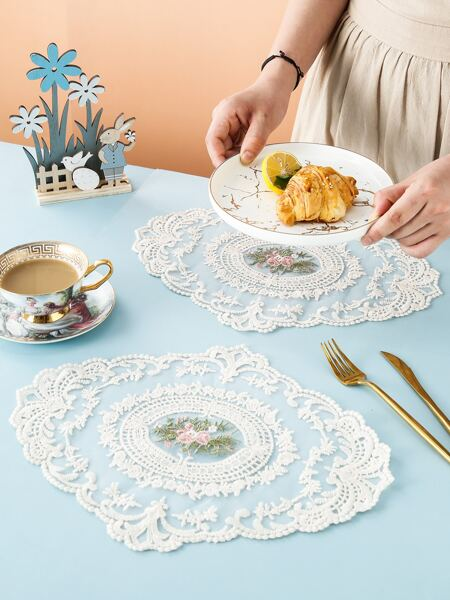 Flower Embroidery Lace Placemat