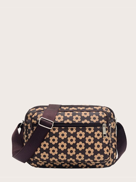Allover Floral Pattern Crossbody Bag