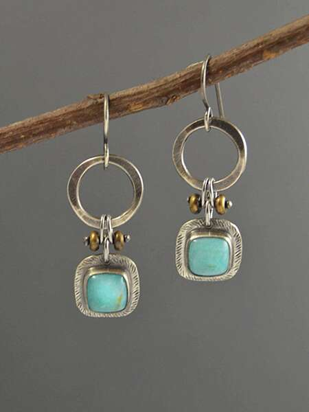 Bohemian Round Decor Turquoise Drop Earrings