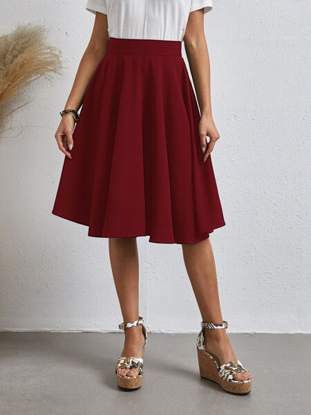 Solid Flared Skirt