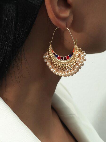 Faux Pearl Tassel Decor Hoop Earrings