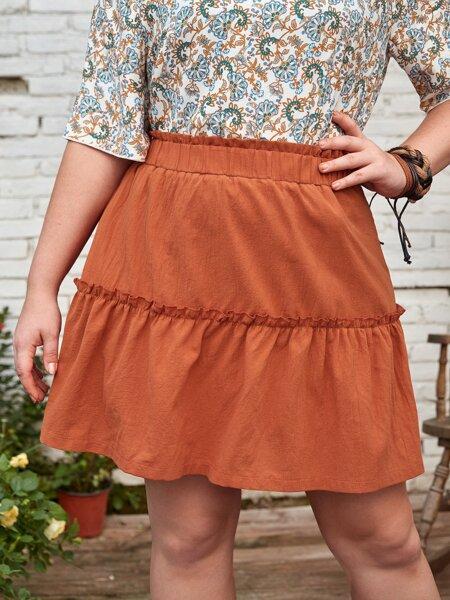 Plus Solid Frill Trim Skirt