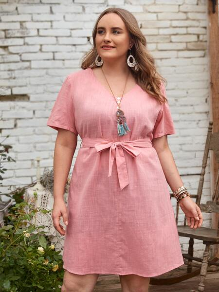Plus Button Front Belted Dress