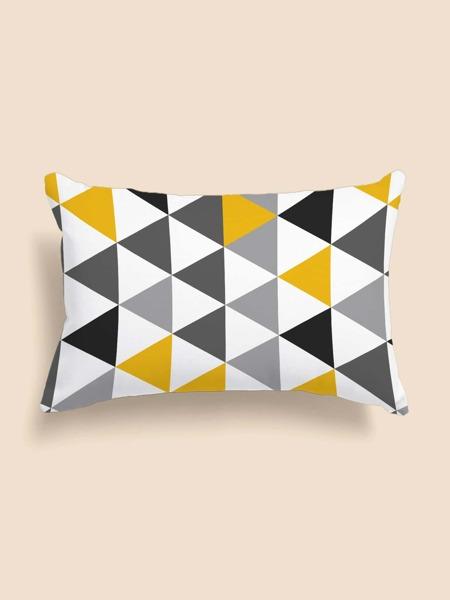 Triangle Print Lumbar Pillow Cover Without Filler