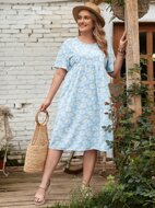Plus Allover Daisy Print Smock Dress